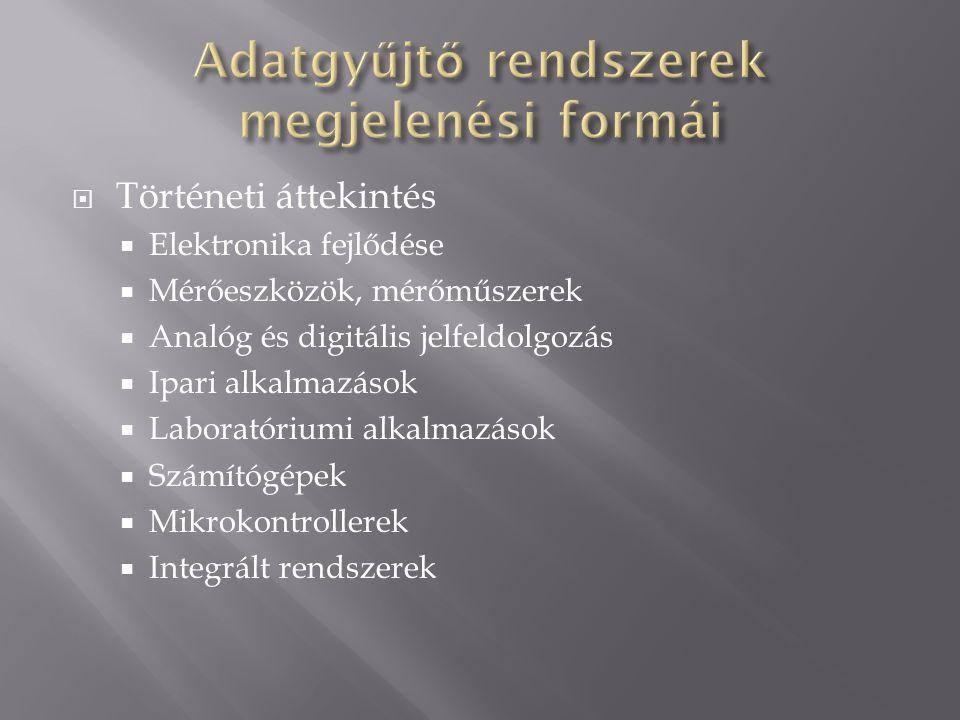  Történeti áttekintés  Elektronika fejlődése  Mérőeszközök, mérőműszerek  Analóg és digitális jelfeldolgozás  Ipari alkalmazások  Laboratóriumi