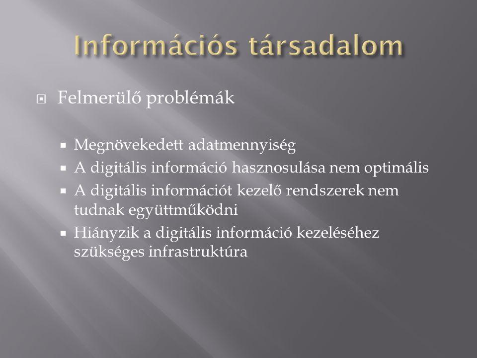  Felmerülő problémák  Megnövekedett adatmennyiség  A digitális információ hasznosulása nem optimális  A digitális információt kezelő rendszerek ne