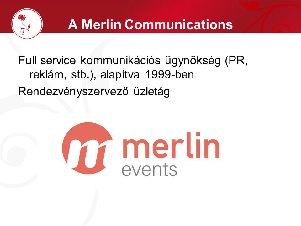 A Merlin Communications Full service kommunikációs ügynökség (PR, reklám, stb.), alapítva 1999-ben Rendezvényszervező üzletág