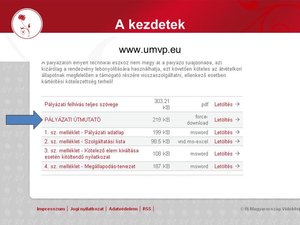 A kezdetek www.umvp.eu