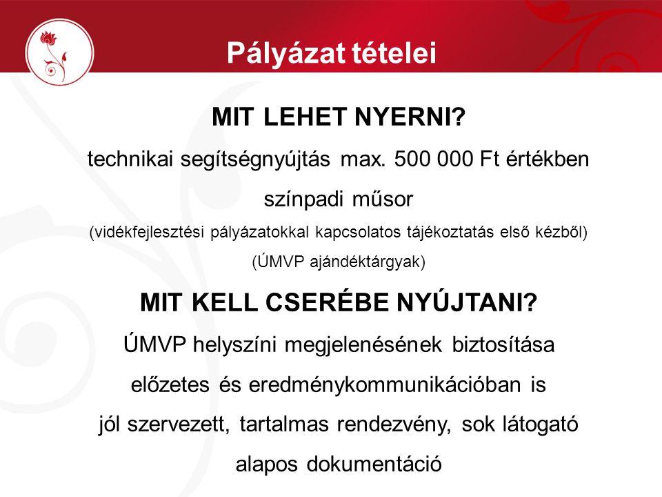 Pályázat tételei MIT LEHET NYERNI. technikai segítségnyújtás max.