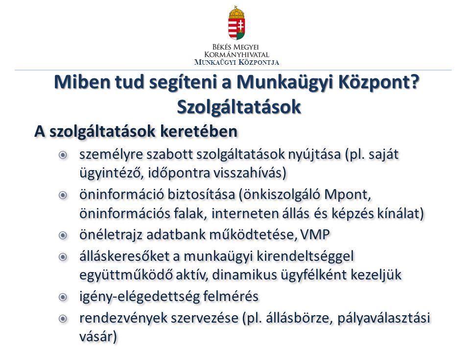 M UNKAÜGYI K ÖZPONTJA A szolgáltatások keretében  személyre szabott szolgáltatások nyújtása (pl.