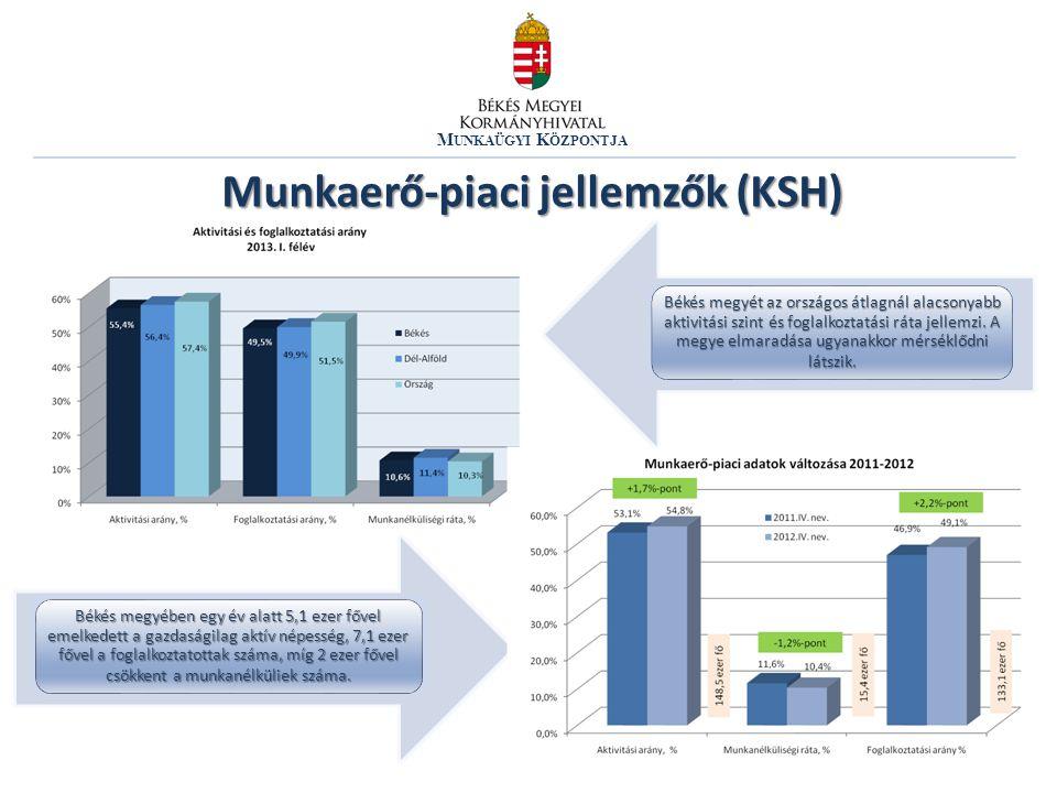 M UNKAÜGYI K ÖZPONTJA Munkaerő-piaci jellemzők (KSH) Békés megyében egy év alatt 5,1 ezer fővel emelkedett a gazdaságilag aktív népesség, 7,1 ezer főv