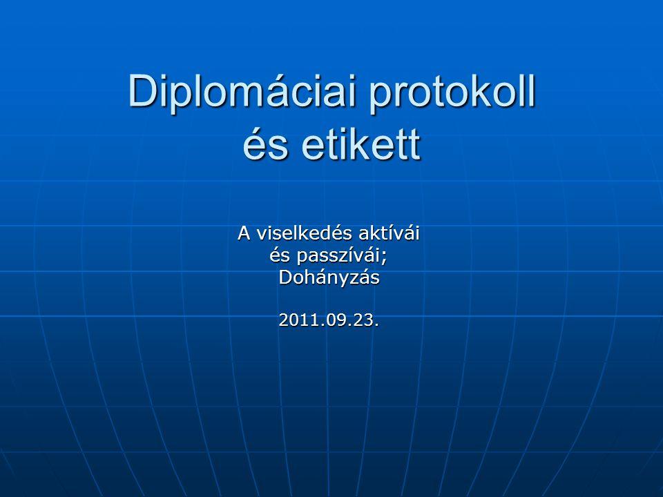 Diplomáciai protokoll és etikett A viselkedés aktívái és passzívái; Dohányzás2011.09.23.
