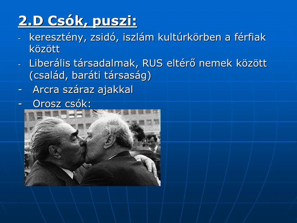 2.D Csók, puszi: - keresztény, zsidó, iszlám kultúrkörben a férfiak között - Liberális társadalmak, RUS eltérő nemek között (család, baráti társaság)