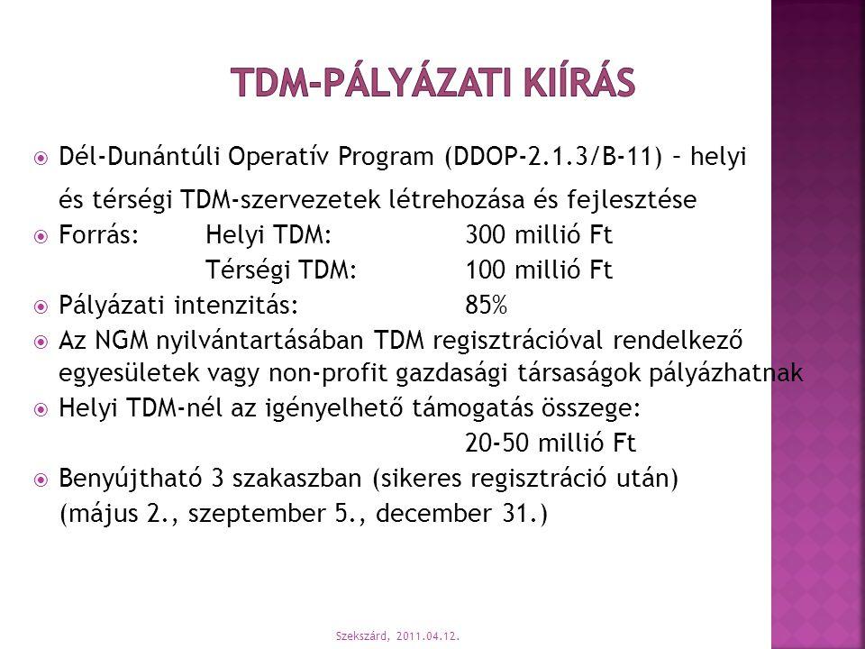  Dél-Dunántúli Operatív Program (DDOP-2.1.3/B-11) – helyi és térségi TDM-szervezetek létrehozása és fejlesztése  Forrás: Helyi TDM:300 millió Ft Tér