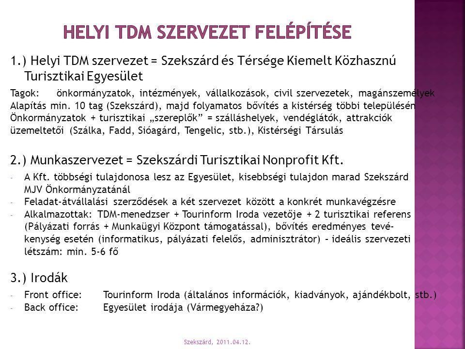1.) Helyi TDM szervezet = Szekszárd és Térsége Kiemelt Közhasznú Turisztikai Egyesület Tagok:önkormányzatok, intézmények, vállalkozások, civil szervez
