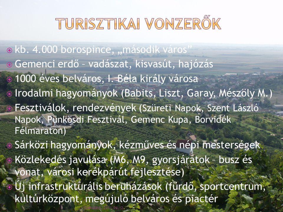 """ kb. 4.000 borospince, """"második város""""  Gemenci erdő – vadászat, kisvasút, hajózás  1000 éves belváros, I. Béla király városa  Irodalmi hagyományo"""