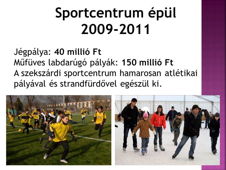 Sportcentrum épül 2009-2011 Jégpálya: 40 millió Ft Műfüves labdarúgó pályák: 150 millió Ft A szekszárdi sportcentrum hamarosan atlétikai pályával és s