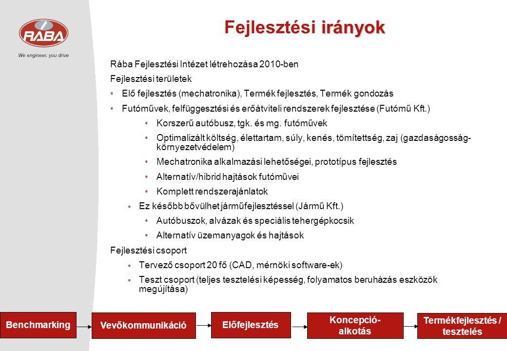 7 irányok Fejlesztési irányok Rába Fejlesztési Intézet létrehozása 2010-ben Fejlesztési területek •Elő fejlesztés (mechatronika), Termék fejlesztés, T