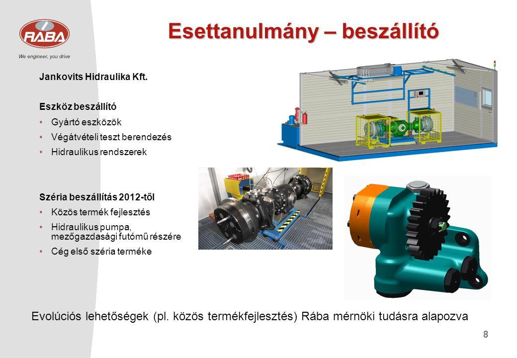 8 Esettanulmány – beszállító Jankovits Hidraulika Kft. Eszköz beszállító •Gyártó eszközök •Végátvételi teszt berendezés •Hidraulikus rendszerek Széria