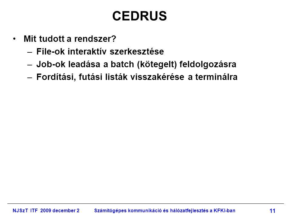 NJSzT ITF 2009 december 2Számítógépes kommunikáció és hálózatfejlesztés a KFKI-ban 11 CEDRUS •Mit tudott a rendszer.
