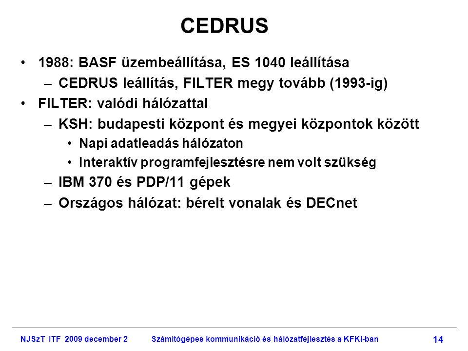 NJSzT ITF 2009 december 2Számítógépes kommunikáció és hálózatfejlesztés a KFKI-ban 14 CEDRUS •1988: BASF üzembeállítása, ES 1040 leállítása –CEDRUS leállítás, FILTER megy tovább (1993-ig) •FILTER: valódi hálózattal –KSH: budapesti központ és megyei központok között •Napi adatleadás hálózaton •Interaktív programfejlesztésre nem volt szükség –IBM 370 és PDP/11 gépek –Országos hálózat: bérelt vonalak és DECnet
