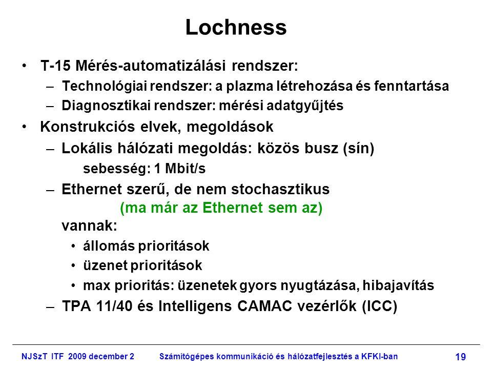 NJSzT ITF 2009 december 2Számítógépes kommunikáció és hálózatfejlesztés a KFKI-ban 19 Lochness •T-15 Mérés-automatizálási rendszer: –Technológiai rendszer: a plazma létrehozása és fenntartása –Diagnosztikai rendszer: mérési adatgyűjtés •Konstrukciós elvek, megoldások –Lokális hálózati megoldás: közös busz (sín) sebesség: 1 Mbit/s –Ethernet szerű, de nem stochasztikus (ma már az Ethernet sem az) vannak: •állomás prioritások •üzenet prioritások •max prioritás: üzenetek gyors nyugtázása, hibajavítás –TPA 11/40 és Intelligens CAMAC vezérlők (ICC)