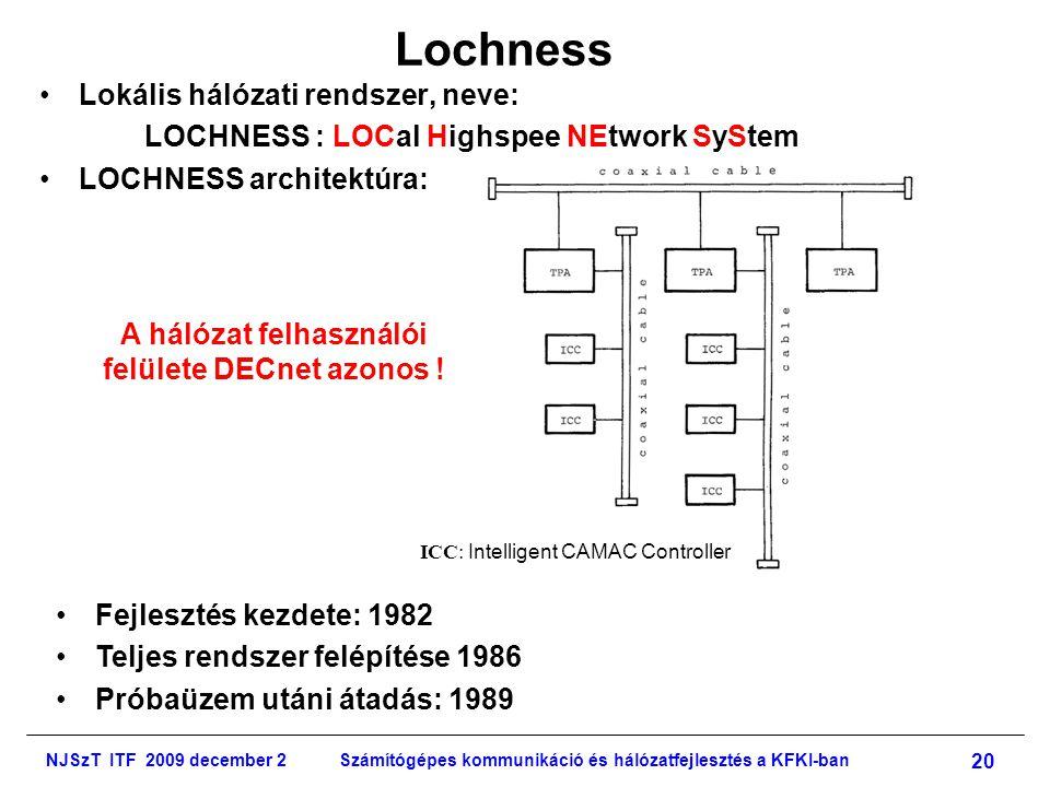 NJSzT ITF 2009 december 2Számítógépes kommunikáció és hálózatfejlesztés a KFKI-ban 20 Lochness •Lokális hálózati rendszer, neve: LOCHNESS : LOCal Highspee NEtwork SyStem •LOCHNESS architektúra: ICC: Intelligent CAMAC Controller •Fejlesztés kezdete: 1982 •Teljes rendszer felépítése 1986 •Próbaüzem utáni átadás: 1989 A hálózat felhasználói felülete DECnet azonos !