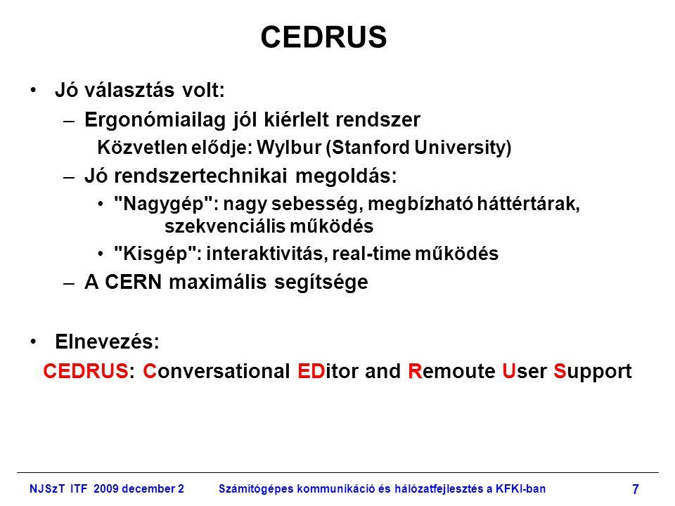 NJSzT ITF 2009 december 2Számítógépes kommunikáció és hálózatfejlesztés a KFKI-ban 8 CEDRUS Logo: