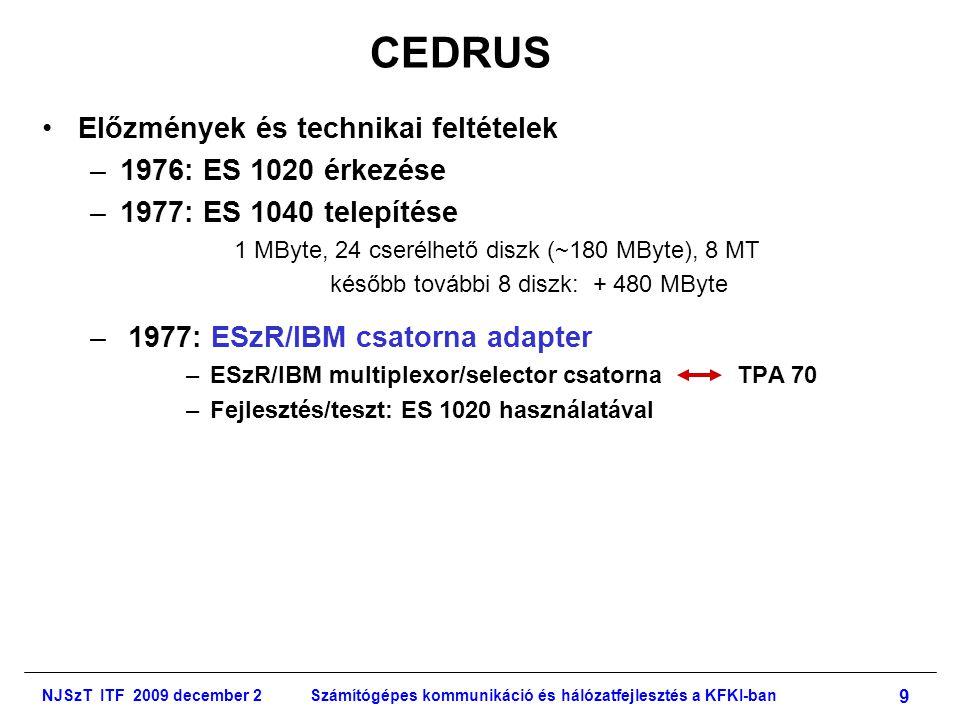NJSzT ITF 2009 december 2Számítógépes kommunikáció és hálózatfejlesztés a KFKI-ban 9 CEDRUS •Előzmények és technikai feltételek –1976: ES 1020 érkezése –1977: ES 1040 telepítése 1 MByte, 24 cserélhető diszk (~180 MByte), 8 MT később további 8 diszk: + 480 MByte – 1977: ESzR/IBM csatorna adapter –ESzR/IBM multiplexor/selector csatorna TPA 70 –Fejlesztés/teszt: ES 1020 használatával