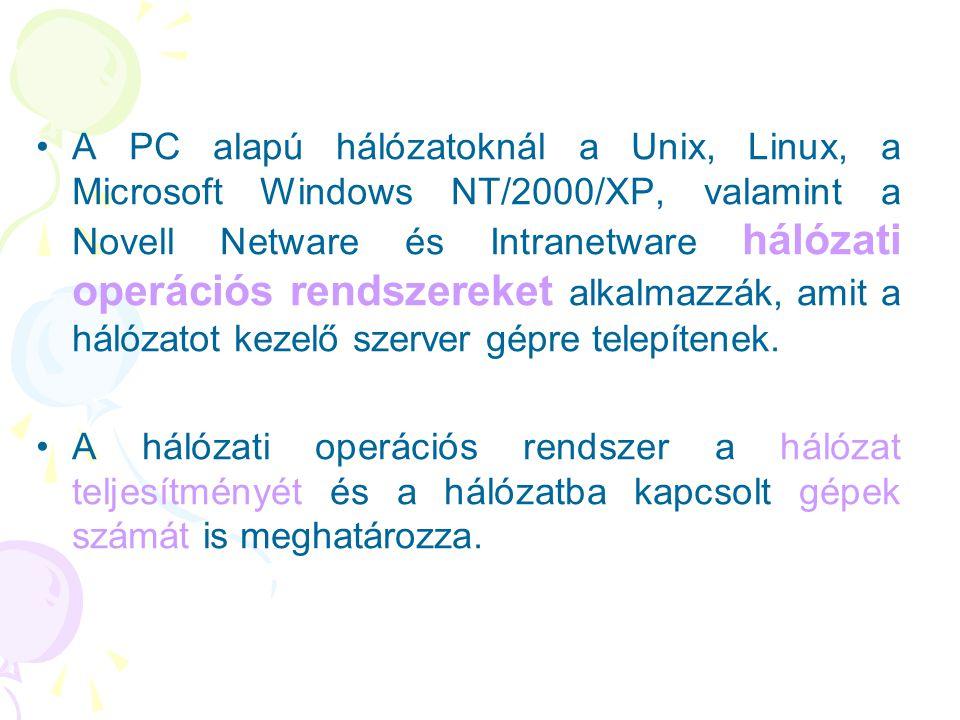 •A PC alapú hálózatoknál a Unix, Linux, a Microsoft Windows NT/2000/XP, valamint a Novell Netware és Intranetware hálózati operációs rendszereket alka