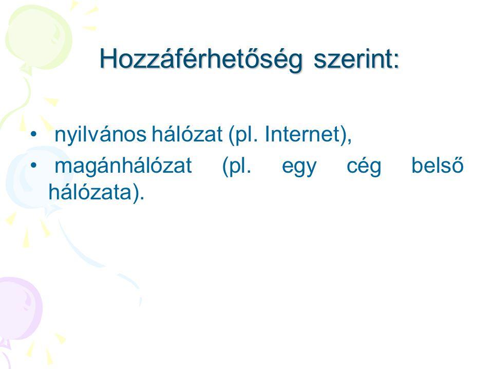 Hozzáférhetőség szerint: Hozzáférhetőség szerint: • nyilvános hálózat (pl. Internet), • magánhálózat (pl. egy cég belső hálózata).