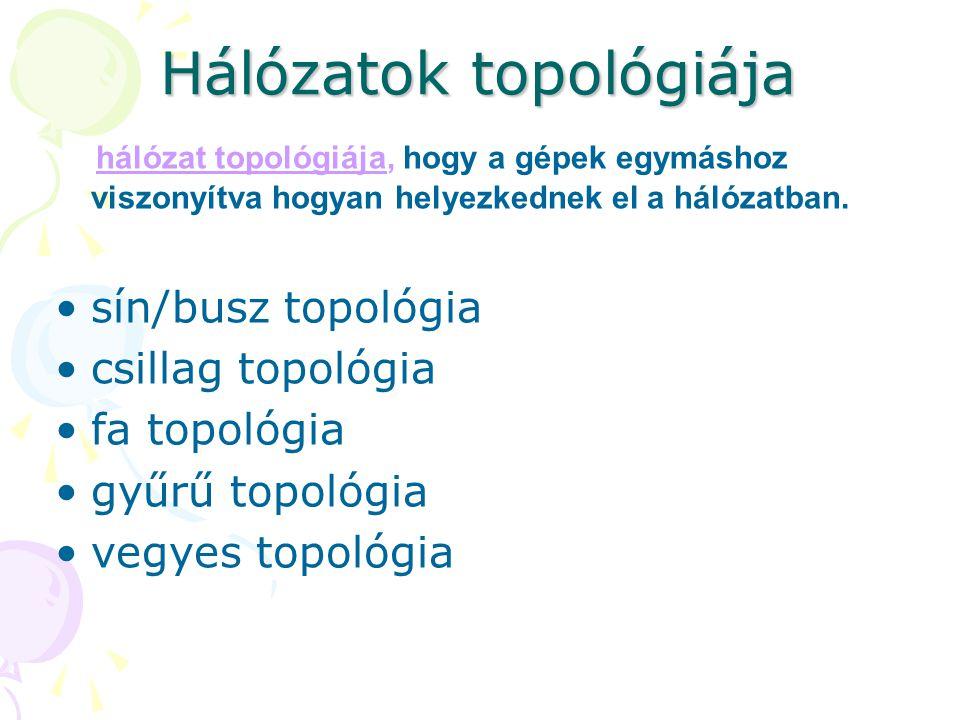 Hálózatok topológiája hálózat topológiája, hogy a gépek egymáshoz viszonyítva hogyan helyezkednek el a hálózatban. •sín/busz topológia •csillag topoló