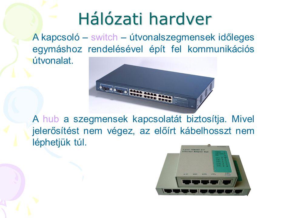 Hálózati hardver A kapcsoló – switch – útvonalszegmensek időleges egymáshoz rendelésével épít fel kommunikációs útvonalat. A hub a szegmensek kapcsola