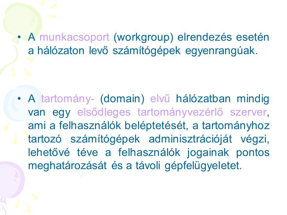 •A munkacsoport (workgroup) elrendezés esetén a hálózaton levő számítógépek egyenrangúak. •A tartomány- (domain) elvű hálózatban mindig van egy elsődl