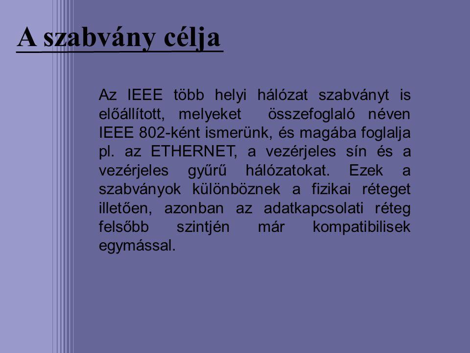 A szabvány célja Az IEEE több helyi hálózat szabványt is előállított, melyeket összefoglaló néven IEEE 802-ként ismerünk, és magába foglalja pl. az ET