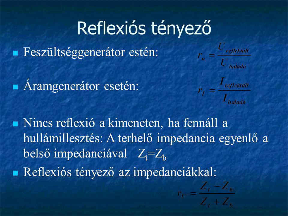 Reflexiós tényező  Feszültséggenerátor estén:  Áramgenerátor esetén:  Nincs reflexió a kimeneten, ha fennáll a hullámillesztés: A terhelő impedanci