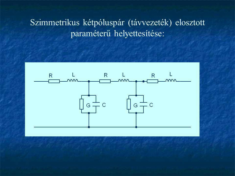 Szimmetrikus kétpóluspár (távvezeték) elosztott paraméterű helyettesítése: