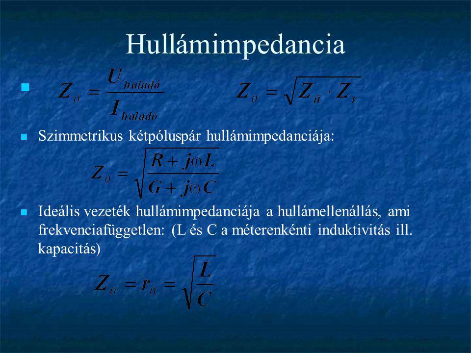 Hullámimpedancia  Szimmetrikus kétpóluspár hullámimpedanciája:  Ideális vezeték hullámimpedanciája a hullámellenállás, ami frekvenciafüggetlen: (L é