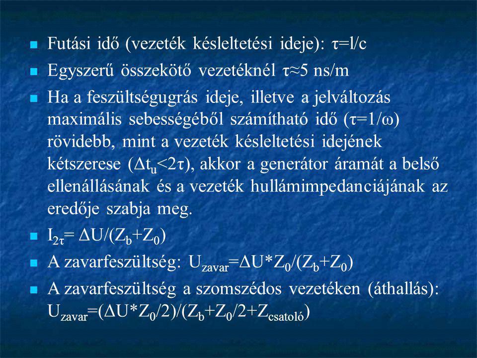  Futási idő (vezeték késleltetési ideje): τ=l/c  Egyszerű összekötő vezetéknél τ≈5 ns/m  Ha a feszültségugrás ideje, illetve a jelváltozás maximáli