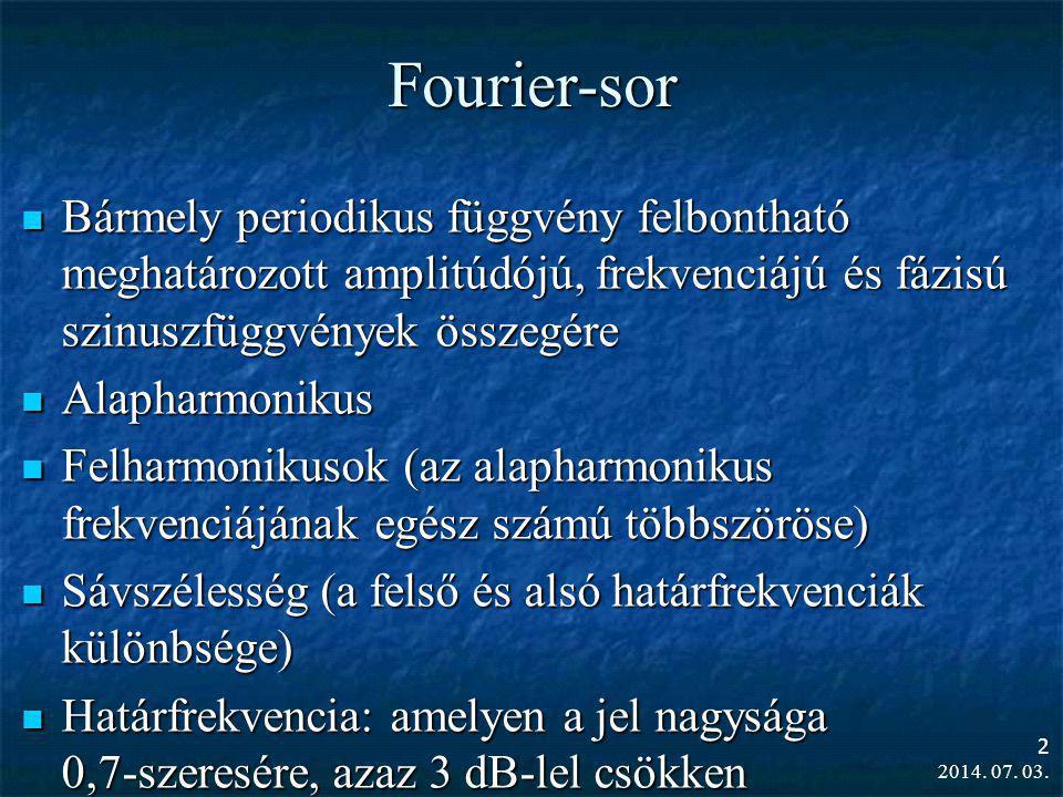 2014. 07. 03. 2 Fourier-sor  Bármely periodikus függvény felbontható meghatározott amplitúdójú, frekvenciájú és fázisú szinuszfüggvények összegére 