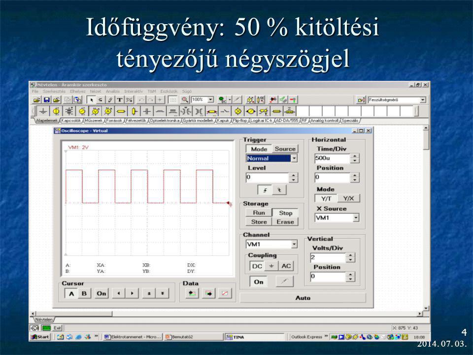 2014. 07. 03. 4 Időfüggvény: 50 % kitöltési tényezőjű négyszögjel