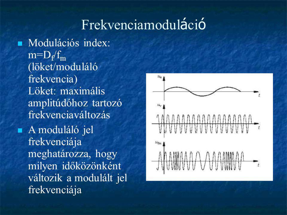Frekvenciamodul á ci ó  Modulációs index: m=D f /f m (löket/moduláló frekvencia) Löket: maximális amplitúdóhoz tartozó frekvenciaváltozás  A modulál