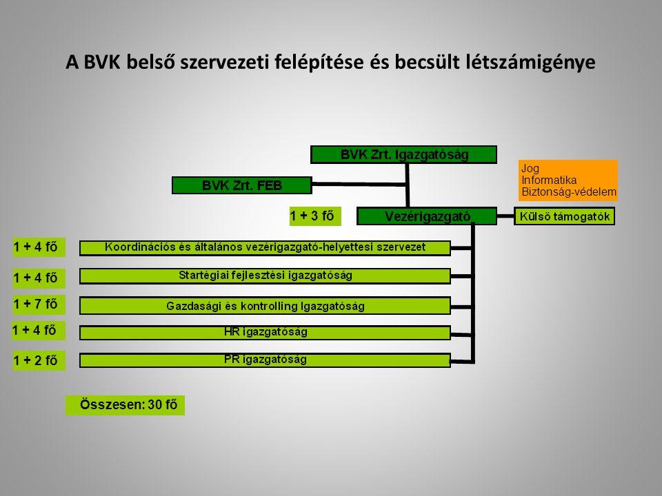 A BVK belső szervezeti felépítése és becsült létszámigénye Jog Informatika Biztonság-védelem Összesen: 30 fő 1 + 3 fő 1 + 4 fő 1 + 7 fő 1 + 4 fő 1 + 2