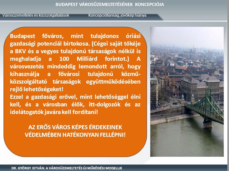 BUDAPEST VÁROSÜZEMELTETÉSÉNEK KONCEPCIÓJA Városüzemeltetés és közszolgáltatások DR. GYÖRGY ISTVÁN: A VÁROSÜZEMELTETÉS ÚJ MŰKÖDÉSI MODELLJE Budapest fő