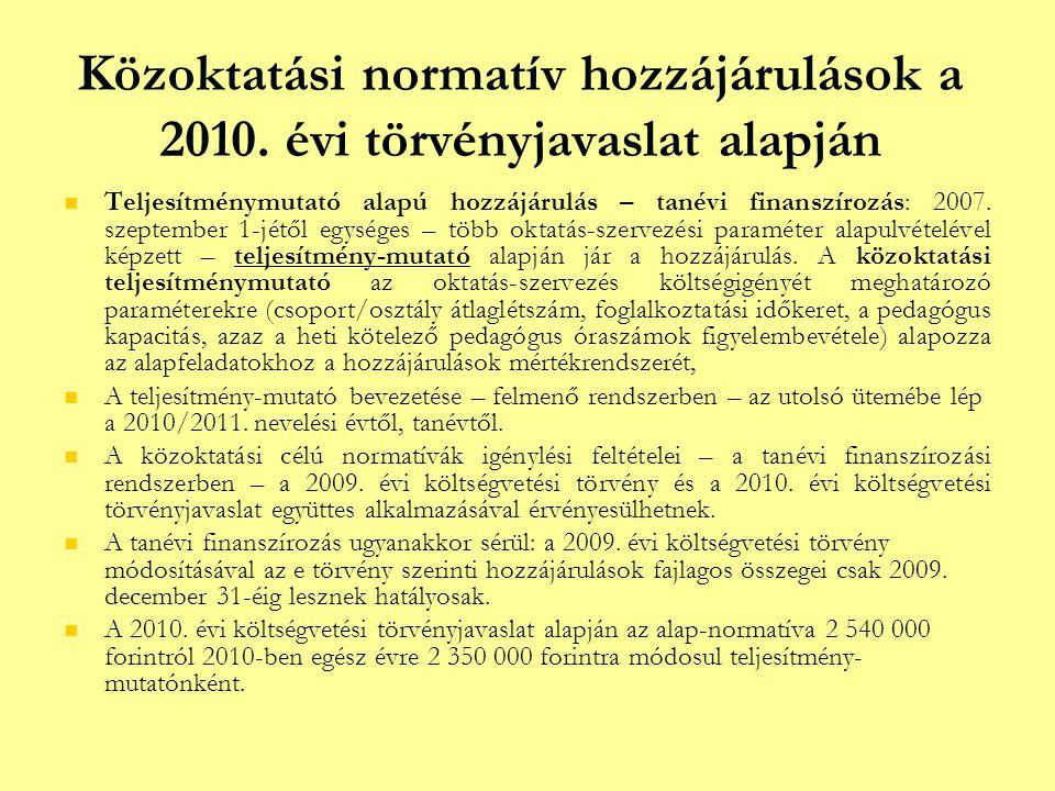Közoktatási normatív hozzájárulások a 2010. évi törvényjavaslat alapján   Teljesítménymutató alapú hozzájárulás – tanévi finanszírozás: 2007. szepte