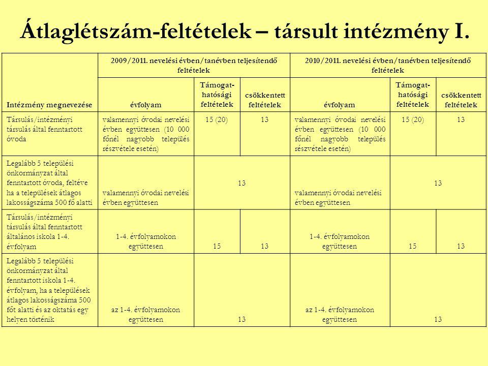 Átlaglétszám-feltételek – társult intézmény I. Intézmény megnevezése 2009/2011. nevelési évben/tanévben teljesítendő feltételek 2010/2011. nevelési év
