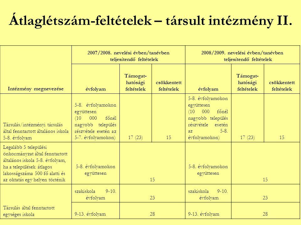 Átlaglétszám-feltételek – társult intézmény II. Intézmény megnevezése 2007/2008. nevelési évben/tanévben teljesítendő feltételek 2008/2009. nevelési é