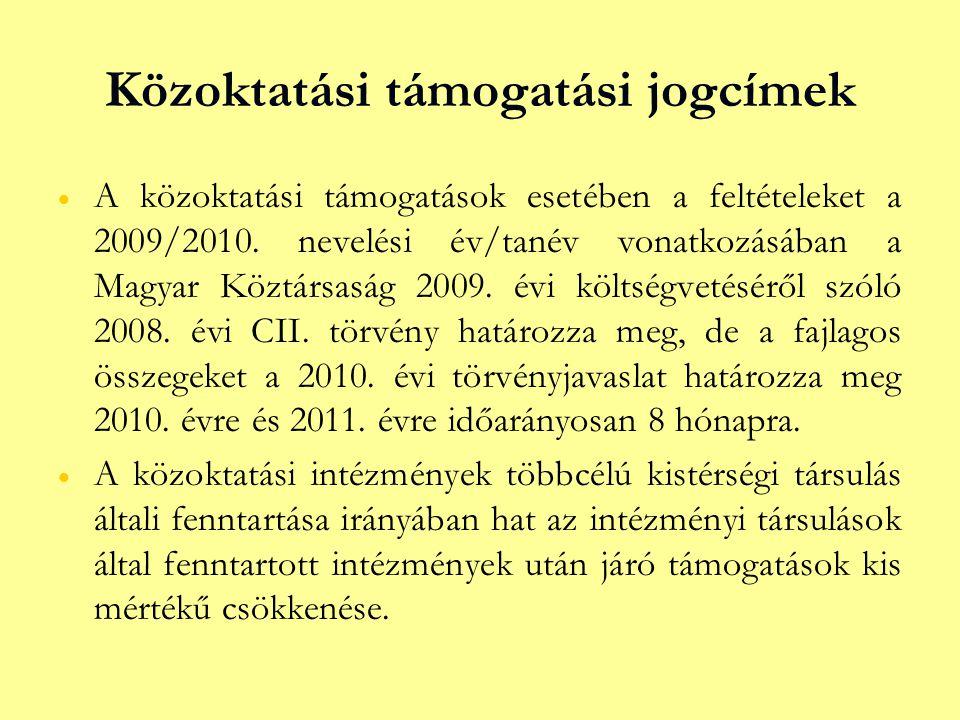 Közoktatási támogatási jogcímek   A közoktatási támogatások esetében a feltételeket a 2009/2010. nevelési év/tanév vonatkozásában a Magyar Köztársas