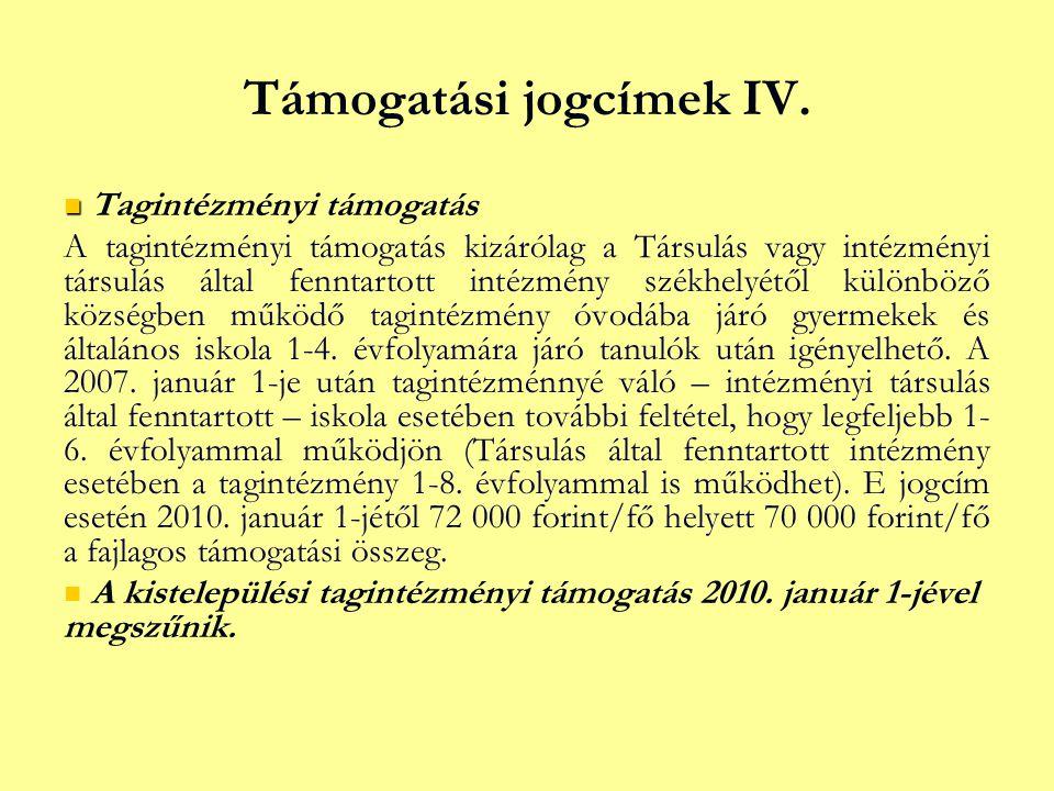 Támogatási jogcímek IV.   Tagintézményi támogatás A tagintézményi támogatás kizárólag a Társulás vagy intézményi társulás által fenntartott intézmén