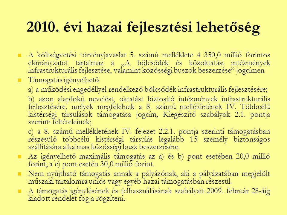 """2010. évi hazai fejlesztési lehetőség   A költségvetési törvényjavaslat 5. számú melléklete 4 350,0 millió forintos előirányzatot tartalmaz a """"A böl"""