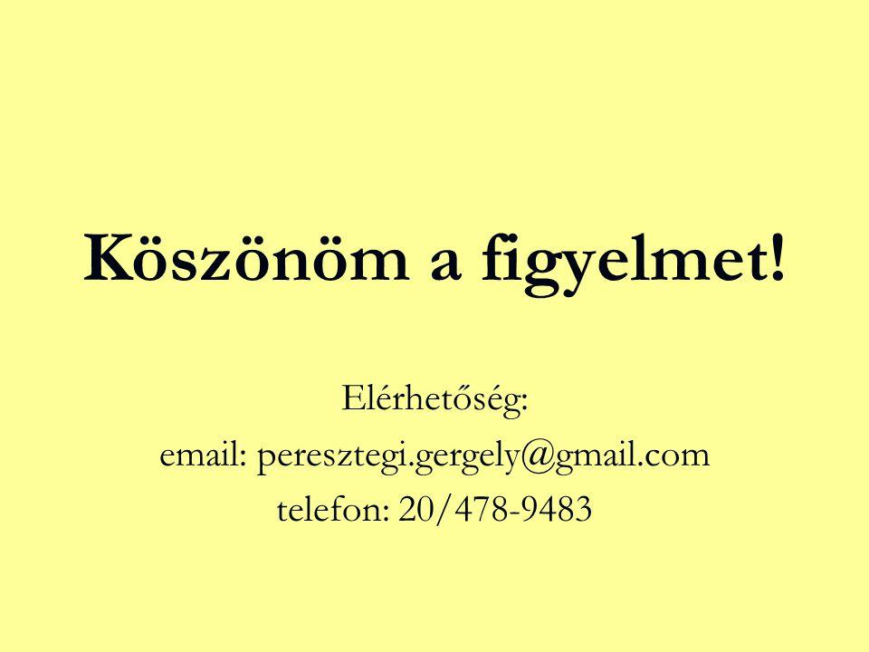 Köszönöm a figyelmet! Elérhetőség: email: peresztegi.gergely@gmail.com telefon: 20/478-9483