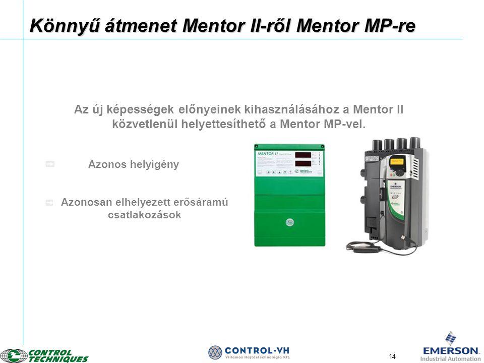 14 Könnyű átmenet Mentor II-ről Mentor MP-re Az új képességek előnyeinek kihasználásához a Mentor II közvetlenül helyettesíthető a Mentor MP-vel. Azon
