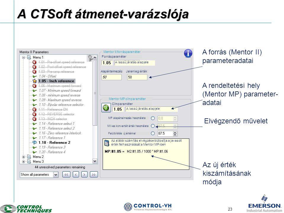 23 A CTSoft átmenet-varázslója A forrás (Mentor II) parameteradatai A rendeltetési hely (Mentor MP) parameter- adatai Action to be taken Information o