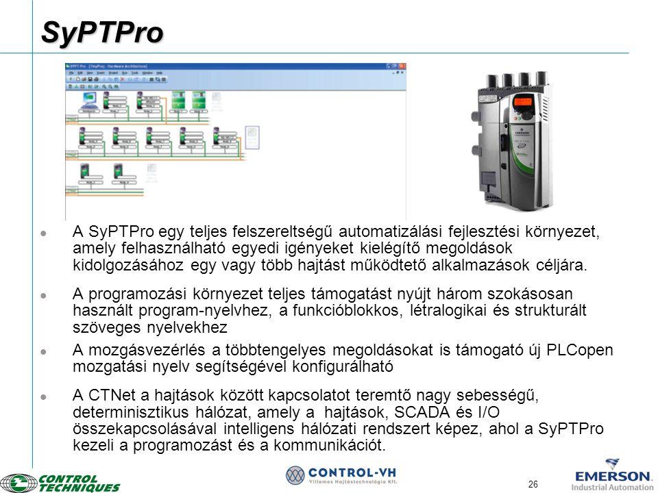 26SyPTProSyPTPro  A SyPTPro egy teljes felszereltségű automatizálási fejlesztési környezet, amely felhasználható egyedi igényeket kielégítő megoldáso