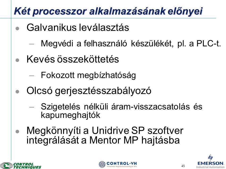 45 Két processzor alkalmazásának előnyei  Galvanikus leválasztás –Megvédi a felhasználó készülékét, pl. a PLC-t.  Kevés összeköttetés –Fokozott megb