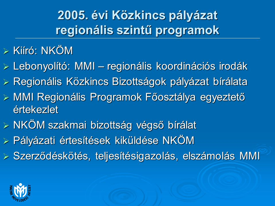 2005.évi Közkincs pályázat regionális szintű programok  Összesen 305 pályázat érkezett.