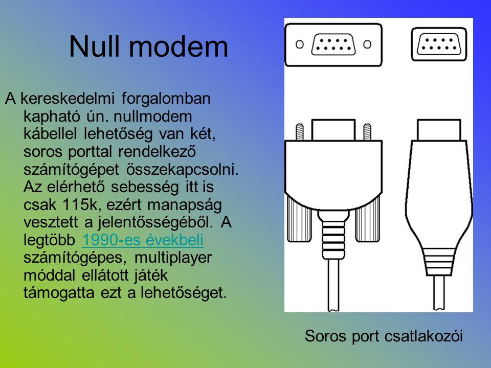 Null modem A kereskedelmi forgalomban kapható ún. nullmodem kábellel lehetőség van két, soros porttal rendelkező számítógépet összekapcsolni. Az elérh