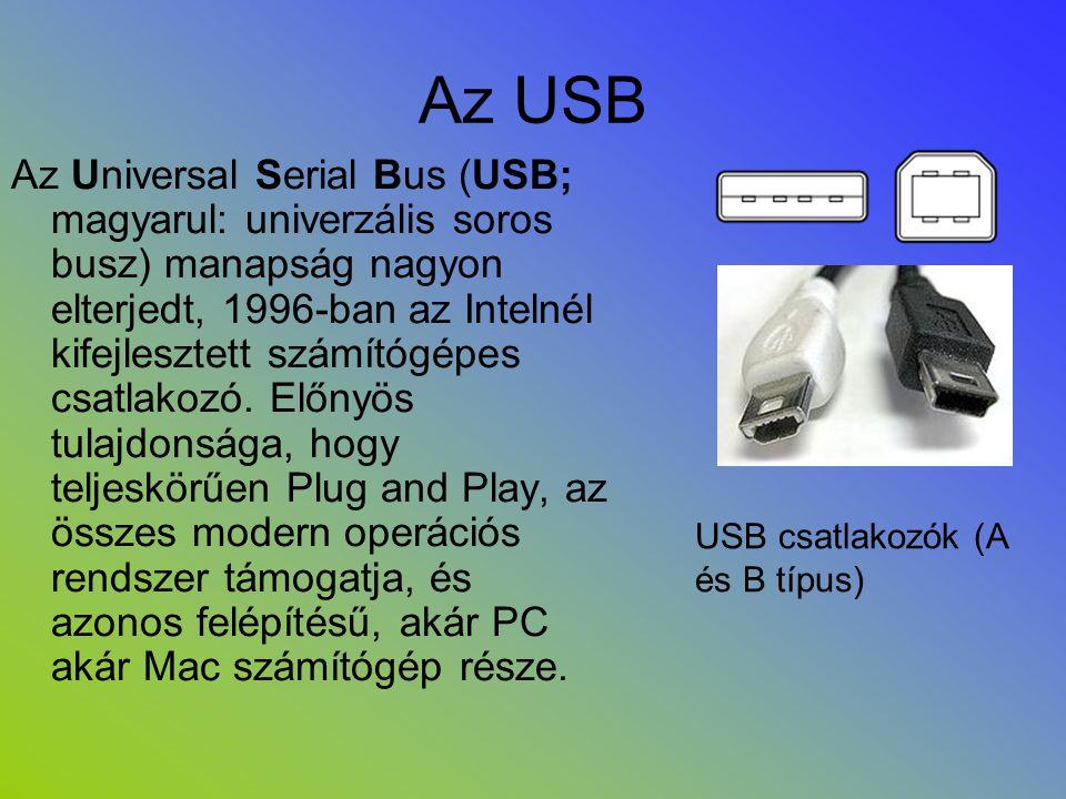 Az USB Az Universal Serial Bus (USB; magyarul: univerzális soros busz) manapság nagyon elterjedt, 1996-ban az Intelnél kifejlesztett számítógépes csat